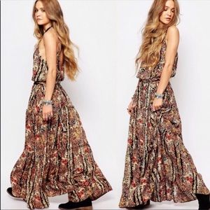 Free People Valerie Floral Print Ruffle Maxi Dress
